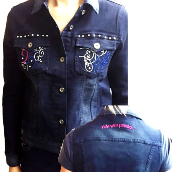 2kGrey Ladies Denim Embroidered Jacket Indigo Blue Female S
