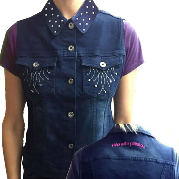 2kGrey Ladies Denim Embroidered Vest Indigo Blue Female S