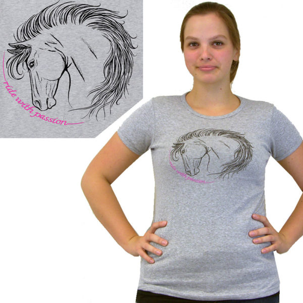 2kGrey Ladies Ride with Passion Tee Shirt Grey Grey Female S