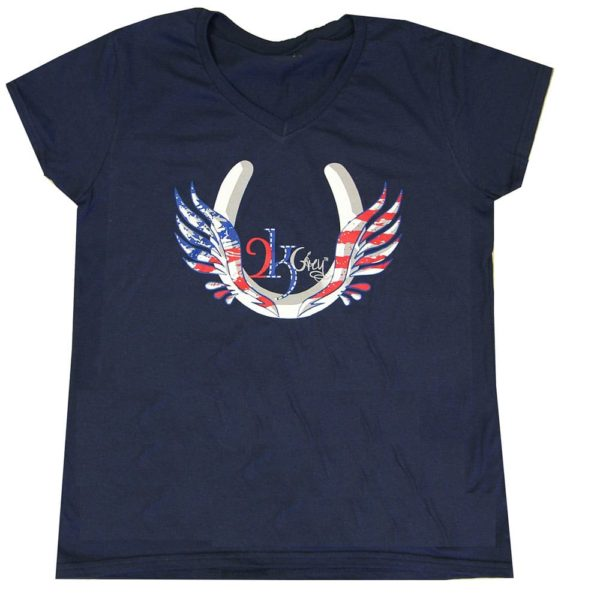 2kGrey Ladies USA Flying Hoof Tee Shirt Navy Female S