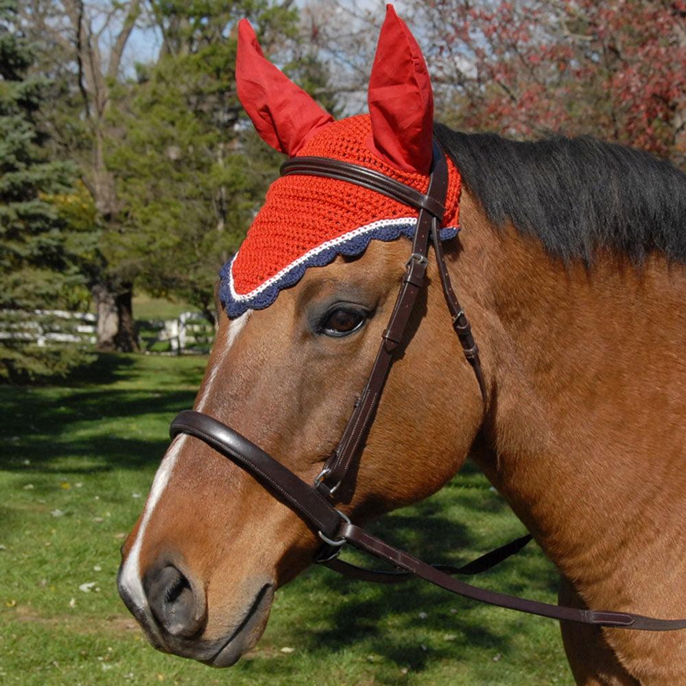 Amigurumi Horse Ears : All crochet fly veil with ears horse size navy silver