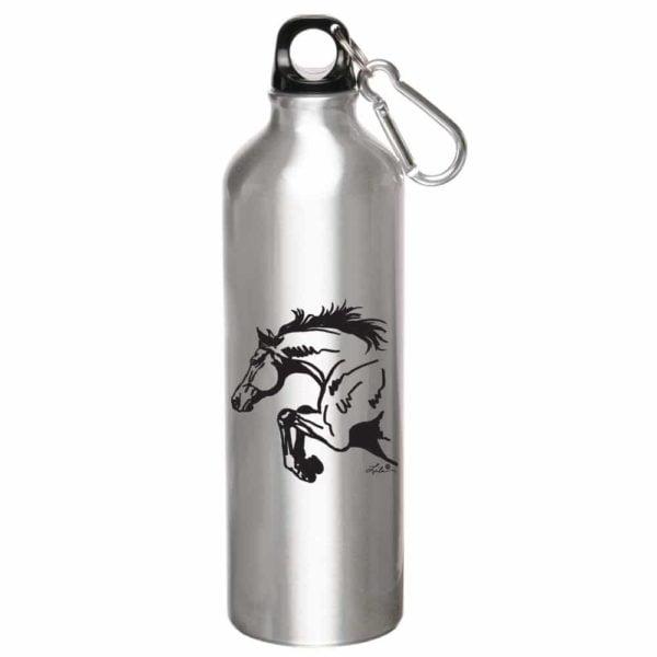 Aluminum Jumper Horse Sports Bottle - Silver
