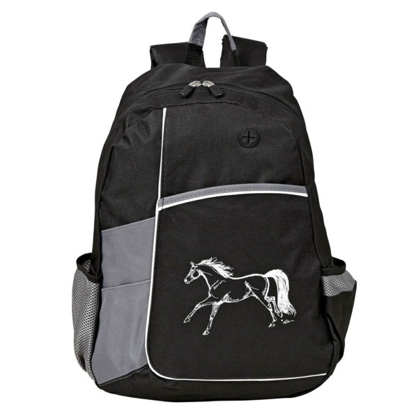 Backpack with Running Horse - Black