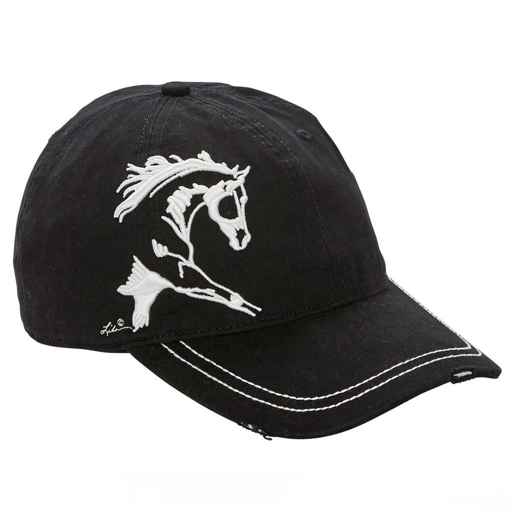 67e5a9b3b5850 Distressed Baseball Cap with Extended Trotting Horse Black Unisex One Size