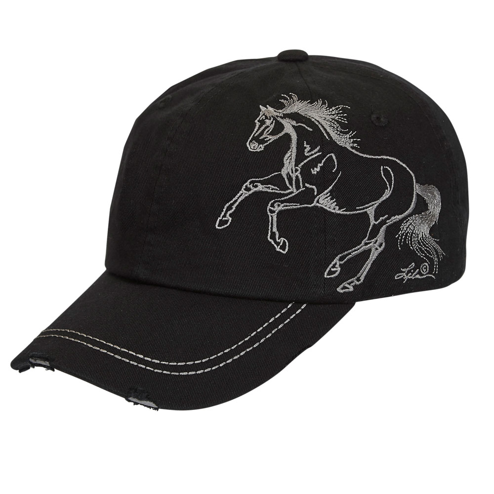 28eac9f1e729eb Distressed Baseball Cap with Galloping Horse Unisex One Size | The ...