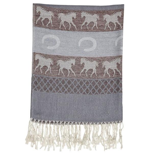 Equestrian Fashion Pashmina Scarf Grey