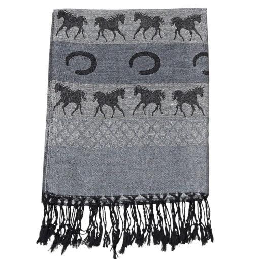 Equestrian Fashion Pashmina Scarf Grey and Black