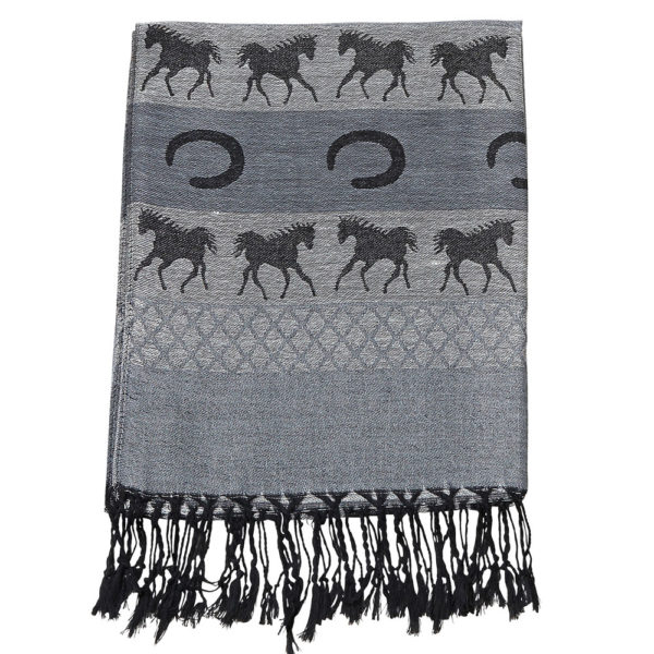 Equestrian Fashion Pashmina Scarf Grey and Black