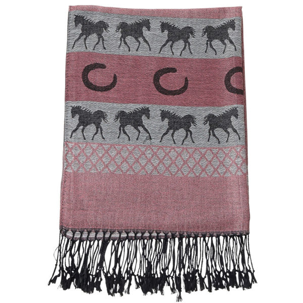 Equestrian Fashion Pashmina Scarf Pink and Black
