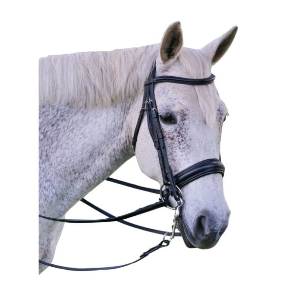 Exselle Elite Plain Raised Padded Bridle with x Brow Black Black Cob