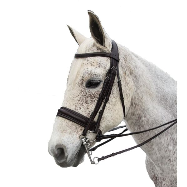 Exselle Elite Plain Raised Padded Bridle with x Brow Brown Brown Cob