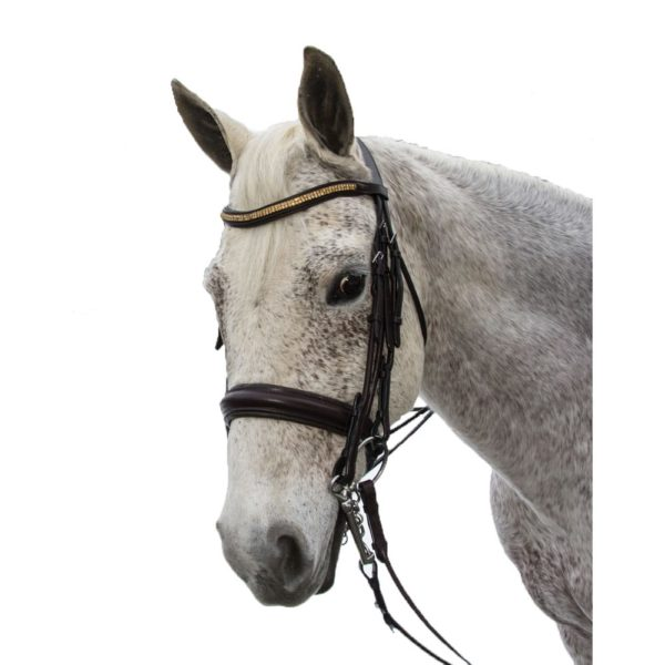 Exselle Elite Plain Rsd Padded Rolled Lther Dbl Bridle X Brow BN Brown Cob