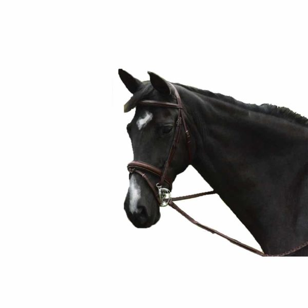 Exselle Elite Raised Padded Fancy Stitched Bridle with x brow HV Havana Cob