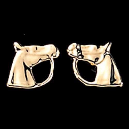 Exe Horse Head Earrings Gold Plate