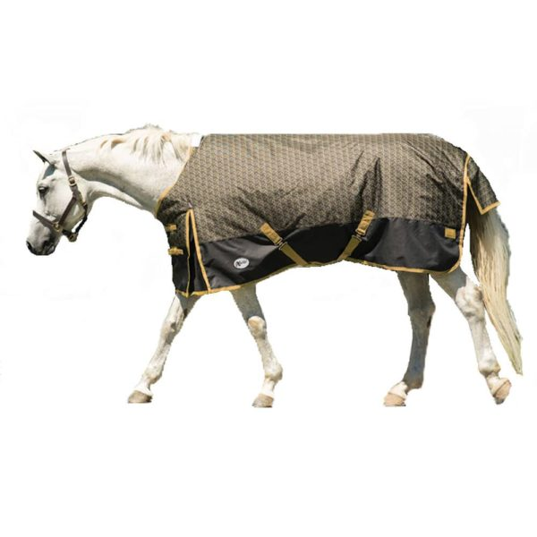 "Exselle North Wind Supreme Turnout Blanket WOW Pattern 72"" Black / Gold"