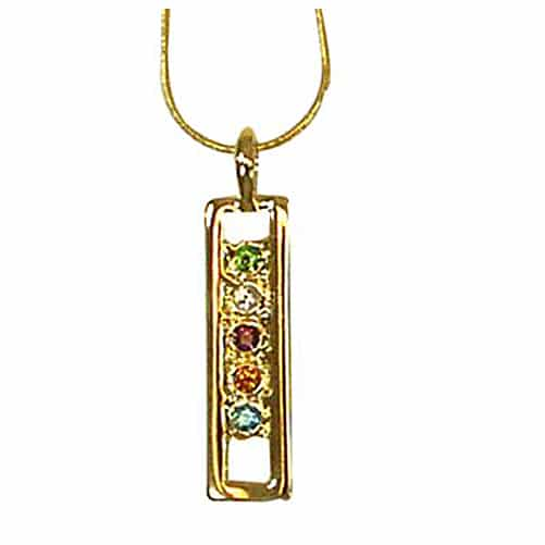 Exselle Pendant with Colored Stones Gold Plate