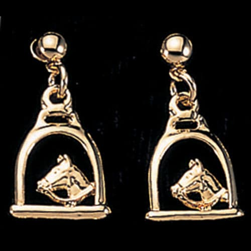 Exe Stirrup With Horse Head Earrings Gold Plate