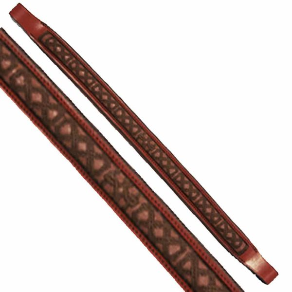 Fancy Stitched Celtic Knot Brow Band Brown