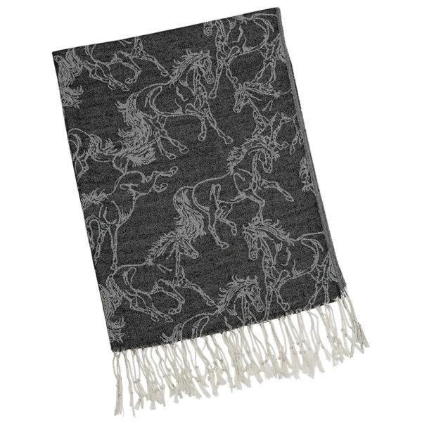 Fashion Scarf Lila Linear Horse Pashmina Black
