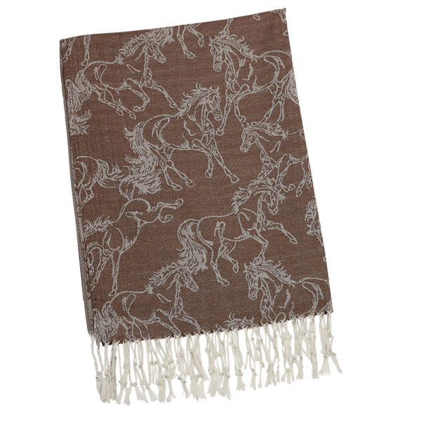 Fashion Scarf Lila Linear Horse Pashmina Brown