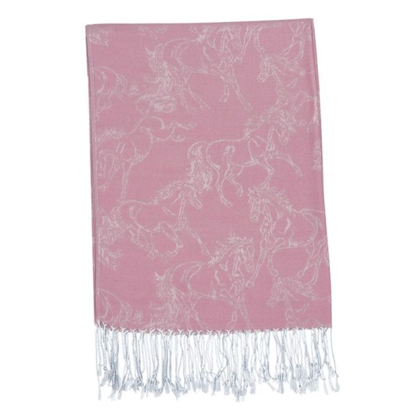 Fashion Scarf Lila Linear Horse Pashmina Purple