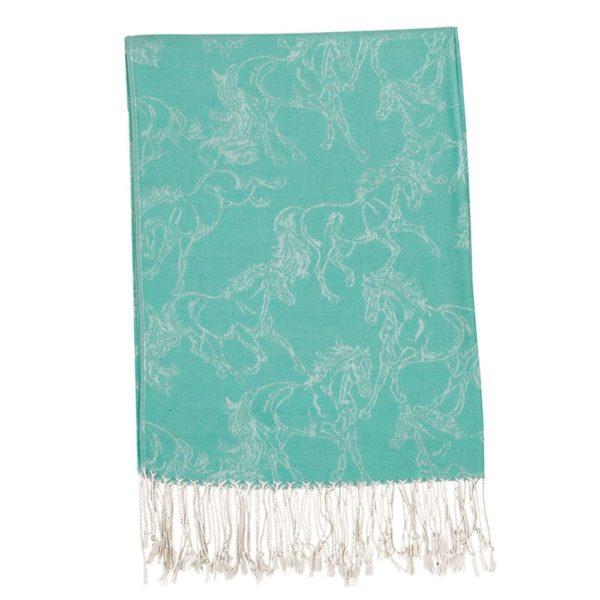 Fashion Scarf Lila Linear Horse Pashmina Turquoise