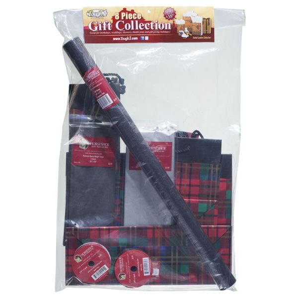 Festive Plaid Gift Bag and Wrap Collection 8 Pack