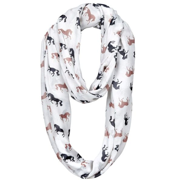 Galloping Horse Infinity Scarf Ivory with Black and Brown Horses