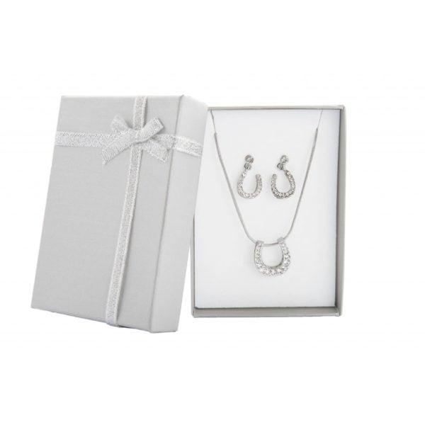 Horseshoe Necklace and Earring Set