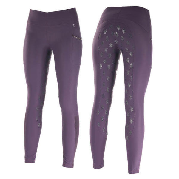 Horze Leah UV Pro Summer Riding Tights Purple