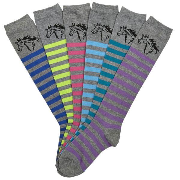 Knee High Horse Head Ladies Socks 6 pack assorted Colors 9-11 Grey