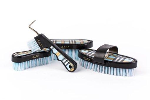 Lettia Plaid Brush Set Blue