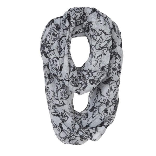Linear Infinity Horse Scarf Grey