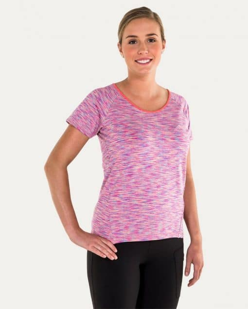 Noble Outfitters Kassidy Crew Women's Top Coral Space Dye