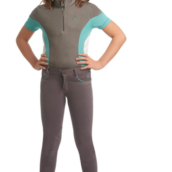 Ovation® Kid's Mock-Neck Performance Top Storm Teal