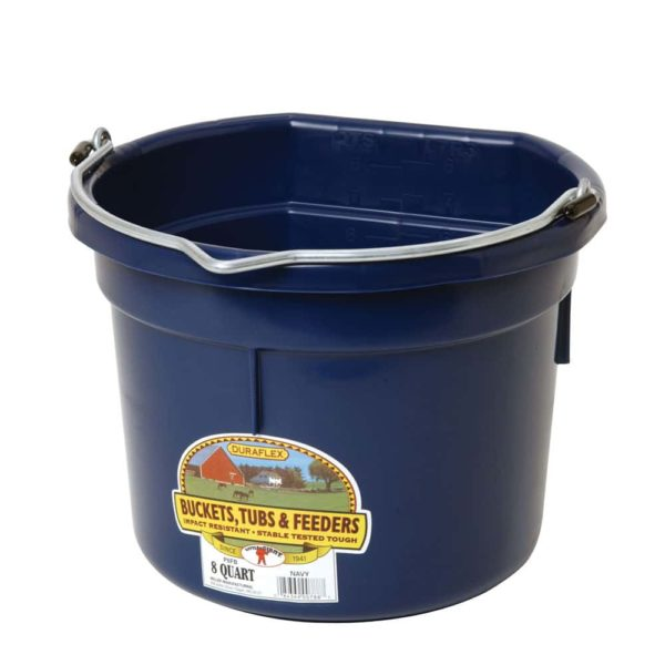 Plastic 8 Quart Flat Back Bucket Navy