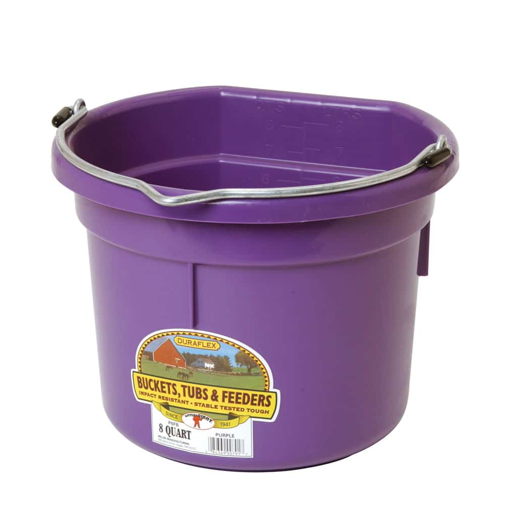 Plastic 8 Quart Flat Back Bucket Purple