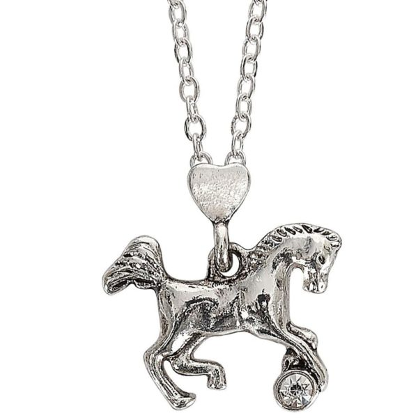 Playful Horse Pendant with Heart Bale