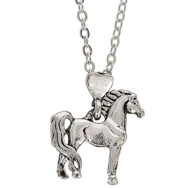 Proud Standing Horse Pendant with Heart Bale