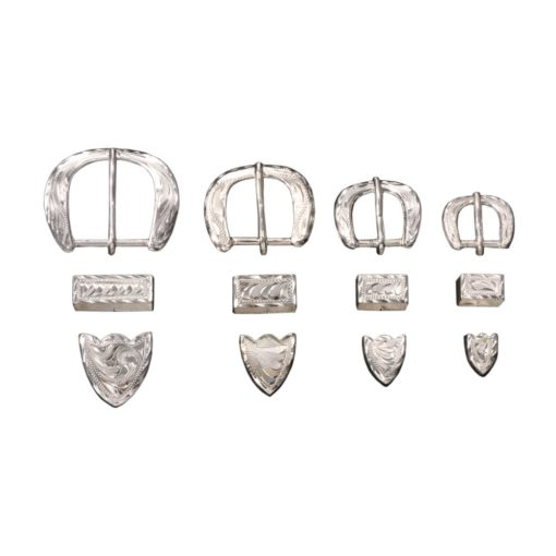 Silver Buckle Tip and Keeper Set.