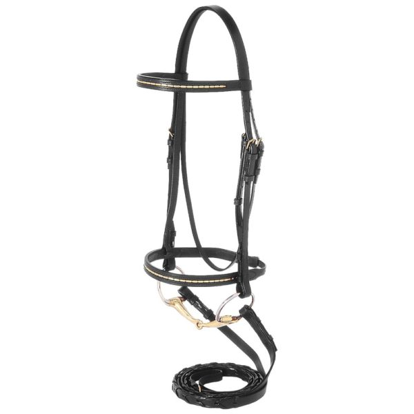 Silver Fox Gold Bead Snaffle Bridle