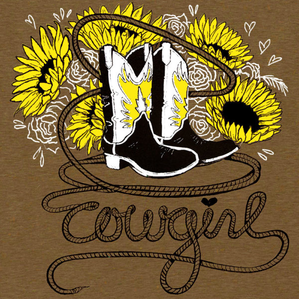 "Tee Shirt ""Cowgirl"" S Brown Female Adult"