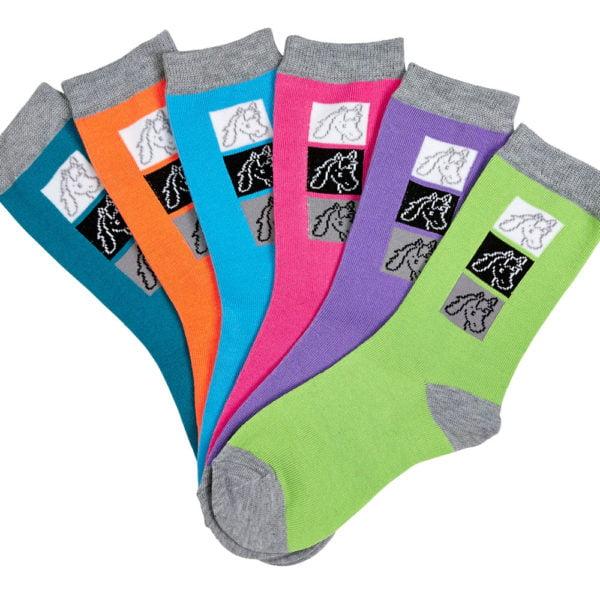 Triple Horse Head Ladies Socks 6 pack assorted Colors