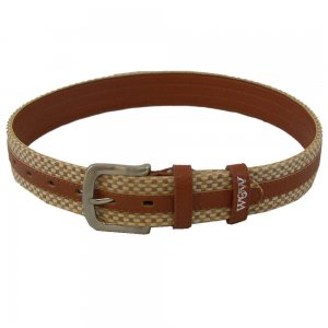 WOW Woven Belt Brown with Tan Weave