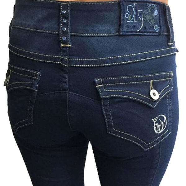 WOW Ladies Knee Patch Denim Breech by 2kGrey Indigo Blue Female 24