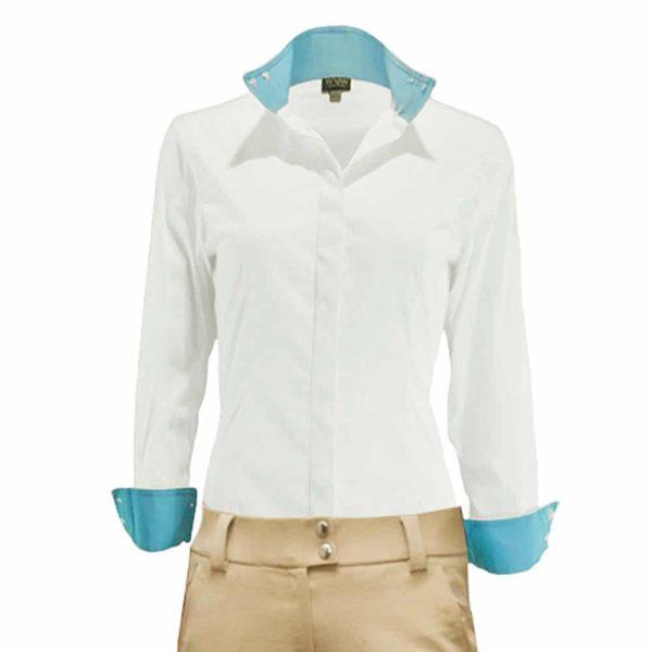 WOW Ladies LS Show Shirt White White Adult Female S