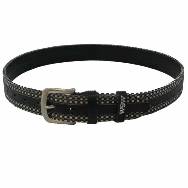 "WOW Woven Belt Black with Grey 24"" Black / Grey Adult Unisex 1 3/8"""